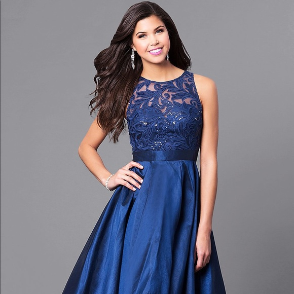 d0d69baa1e6 Promgirl Navy High Low Dress